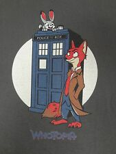 TEE FURY WHOTOPIA - DOCTOR WHO ZOOTOPIA SPOOF - TARDIS  2XL GRAY T-SHIRT F1022