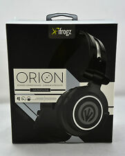 iFrogz Orion DJ Style On-Ear Stereo Headset Headphones w/Mic+Remote (Black) NEW