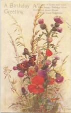 POPPIES THISTLES BUTTERFLY OILETTE TUCK POSTCARD