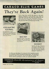 1946 PAPER AD Foto Electric Football Game Cadaco Ellis Well Made Doll & Toy Gun