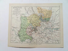 MIDDLESEX  MAP WITH RAILWAYS-PHILIPS-ANTIQUE DATE 1890 - 7inx 9in