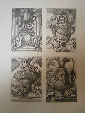 Planche gravure Jean le Pautre Quatre vases à l'antique 1661