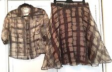 Armand Ventilo Silk Brown Gold Shirt And Skirt Set Rockabilly 50s Pearl Buttons