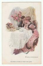 "Harrison Fisher Signed Postcard Glamorous Lady ""First Evening"" R&N 190"