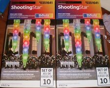 Lot Of 2 Gemmy Shooting Star Icicle Lights LED Multi-Colored Christmas/ Trimming