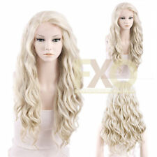 Long Curly Wavy Light Ash Blonde Heat Resistant Synthetic Lace Front Wig Hair