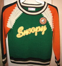 RARE VINTAGE PEANUTS SNOOPY CHILD'S SWEATER Charlie Brown Logo Yellow