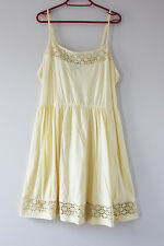 Primark Atmosphere Summer Strappy Yellow Swing Dress Crochet Lace Cut Out 14