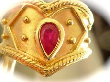 Impressive 14k yellow gold Etruscan style naturtal mined ruby band ring sz 6.75