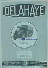 PUBLICITE AUTOMOBILE DELAHAYE CAMION A GAZOGENE CONCOURT MILITAIRE DE 1927 AD
