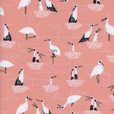 Cotton and Steel ~ Stork Nest Pink Fabric / quilting bird baby nursery dress