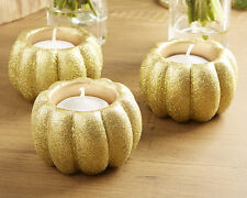 24 Glitter Pumpkin Fall Fairy Tale Wedding Votive Candle Favors Decor Lot Q36832