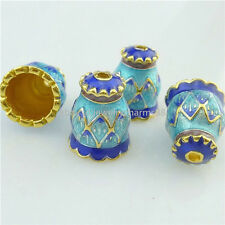 16243 2PCS 14mm Copper Enamel Cloisonne Lotus Flower Spacer Beads Cap Tassel End