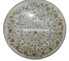 """30"""" White Marble Coffee Table Top Rare Turquoise Ornate Inlay Home Deco H918A"""