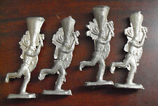 "Lot of 4 Vintage Thin Lead Indian Figures 2 1/2"" Tall"