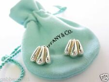 Tiffany & Co RARE Sterling Silver & 14Kt Gold Swirl Shell Stud Earring w/Pouch