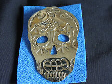 Mexican Engraved Alpaca Silver Day of the Dead Medium Skull Pendant