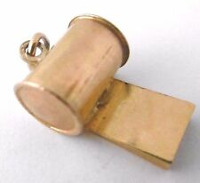 Vintage   REFEREE's SPORT's WHISTLE WITH SHRILL SOUND   9ct yellow gold charm 2g
