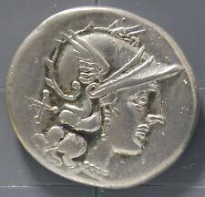 155 B.C. silver roman republic denarius coin of Atilius Saranus