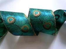 5yd Teal Blue Green Peacock Feathers Wedding Wreaths Make Decor Bow Wired Ribbon