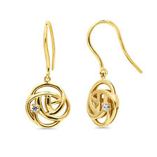 BERRICLE Gold Flashed 925 Silver CZ Rose Flower Fish Hook Dangle Drop Earrings
