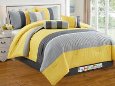 7-Pc Quilted Square Pleated Striped Comforter Set King Yellow Gray Silver Beige