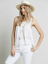 126696 New $98 Free People Attina Top Embroidered Cutout Sleeveless Blouse S 4