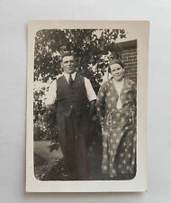 Vintage 1930s B/W Photograph. Middle-Aged Man & Woman in Garden. Clothing