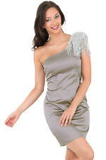 New-Silver Grey Satin Party Dress-Silver Beads-One Shoulder-Cocktails/Dance-16