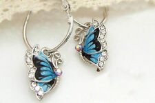 1Pair Blue Crystal Rhinestone Enamel Butterfly Dangle Hoop Earrings women
