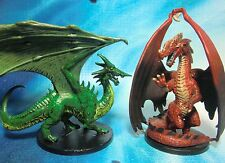 Dungeons & Dragons Miniatures  Large Red Dragon Green Dragon !!  s101