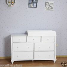 White NZ Pine 7 Drawers Change Table Dresser Chest of Draw Cabinet with Free Pad