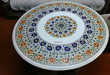 """38"""" MARBLE SIDE CORNER CENTER ROUND DINING COFFEE TABLE TOP MOSAIC INLAY WORK"""