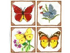 NEW ITA CROSS STITCH FOUR COASTER KIT - Butterflies #6