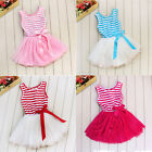 NEW Baby Toddler Infant Girls Kids Stripe Tutu Party Dress Christmas 4 Colors