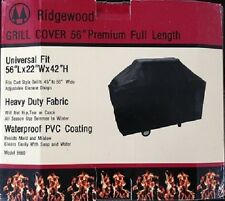 "GRILL COVER 56"" BLACK Heavy Duty 600D Waterproof PVC 4 Season Fabric CLOSEOUT"