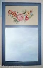Large Country Chic Mirror Floral Pink Blue Shabby Cottage Flower Rose Green Leaf
