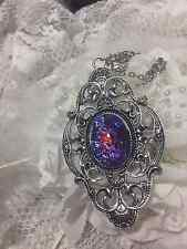 MEDIEVAL AMULET RED VICTORIAN LRG fire opal DRAGONS BREATH Necklace silver gold