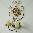 Vintage handmade gold painted iron wall mount candle holder home café decor