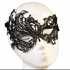 BIN Ladies Black Lace Masquerade Eye Mask Gothic Fancy Dress Party Hen Halloween