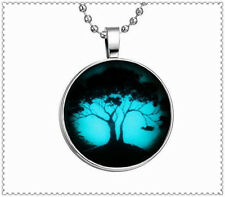 """Vogue Glow in the Dark Red """" Lucky Tree"""" Cabochon Silver Glass Pendant Necklace"""