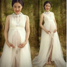 Sexy White Chiffon Maternity Maxi Dress Photography Props Studio Clothing
