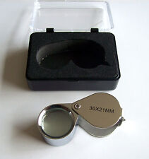 Chrome Jewelers Loupe 21Mm 30x Power Lense Lens Magnifier Loop Magnifying Glass