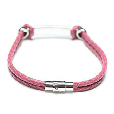 Men Unisex Genuine Braided Leather Stainless Steel Clasp ID Bracelet Pink B21