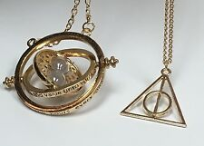 Harry Potter Time Pendant Turner Necklace & Gold Deathly Hallow Charm Necklace