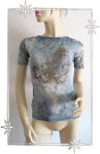 Haut T-shirt Fantaisie Bleu en Voile Legatte Jeans Taille 40 / 42
