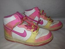 Vintage NIKE Hi Top White Pink Yellow Basketball Shoes Youth 6 Y Vietnam
