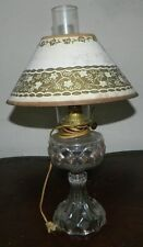 Vintage Clear Glass Eagle Oil Lamp with Chimney Converted to Electric .