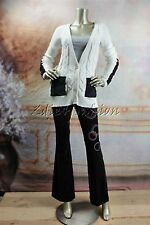 New MINK PINK White Cable Knit Black Trim Cardigan Sweater XS Extra Small