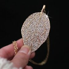 Stunning Clear Crystal Rhinestone Rose Gold Silver Plated Leaf Pendant Necklace